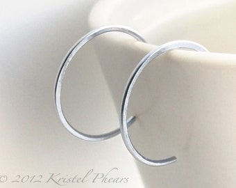 "Small Sterling Hoops - eco-friendly recycled silver hoop earrings, reverse simple classic minimal basic lightly hammered 3/4"" 18mm 20mm gift"