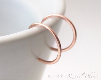 """Tiny Copper Hoops - reverse hoop earrings simple classic minimalist basic lightly hammered 1/2"""" 12mm copper or red brass Gift"""