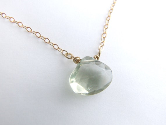 Green Amethyst necklace - Eco-friendly silver or gold green prasiolite solitaire minimal choker, layering necklace, February birthday gift