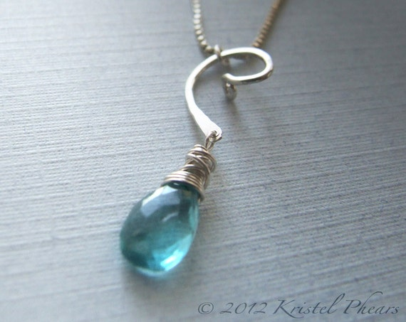 Apatite necklace sterling silver swirl - aqua blue faceted natural gemstone pendant original jewelry design bridesmaid Christmas gift