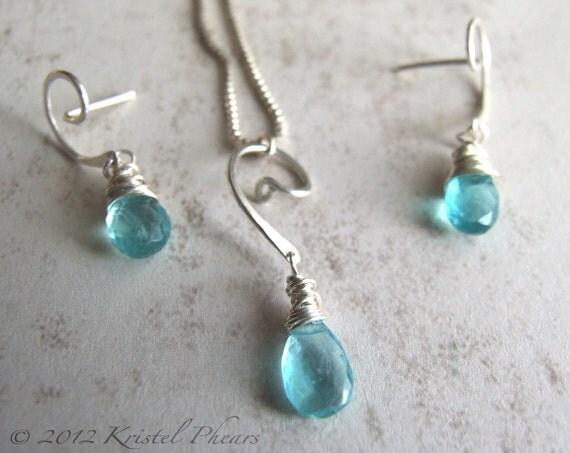 Blue Apatite Earrings Necklace Gift Set - sterling aqua natural gemstone original jewelry design dangle pendant Valentines Gift