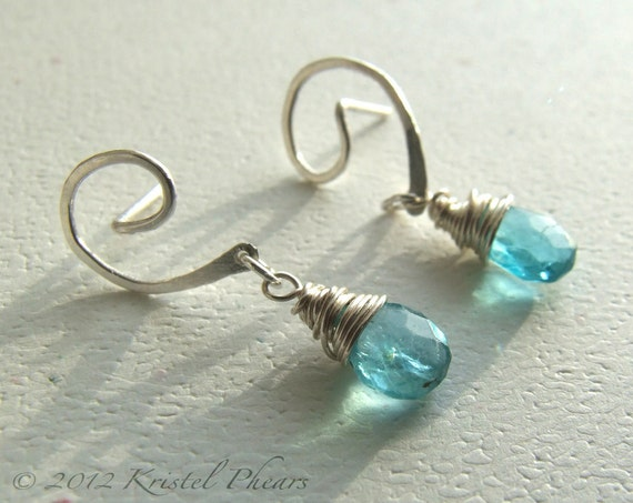 Blue Apatite Earrings - sterling swirl post aqua swiss blue natural gemstone original jewelry design dangle Christmas gift