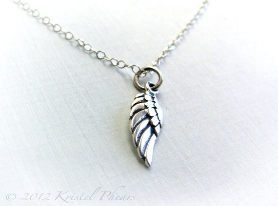 Small Wing Necklace Sterling Silver - angel wing bird wing simple dainty feminine delicate Gift