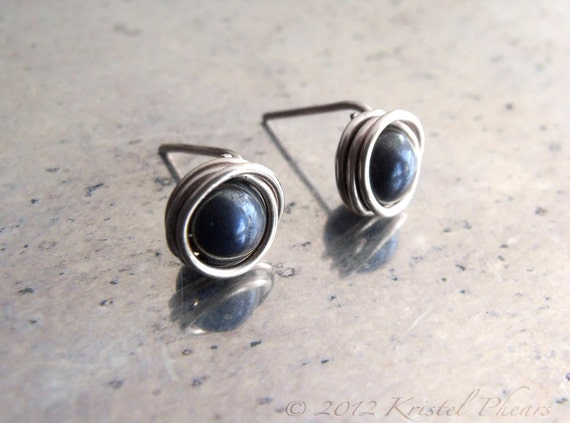 Tiny sterling stud earrings - eco-friendly recycled stelring silver, Iron tiger eyewire wrapped studs ear posts unisex gift