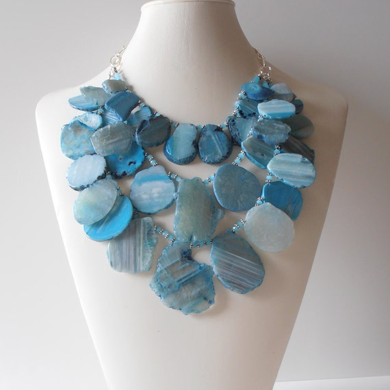 Turquoise Agate Statement Necklace Chunky Beaded Multistrand in Silver