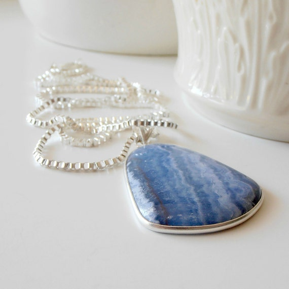 Long Necklace, Big Blue Chalcedony Stone Pendant on Long Silver Chain