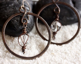Large Recycled Copper Circle Earrings with Dangling Clear Crystal Bead