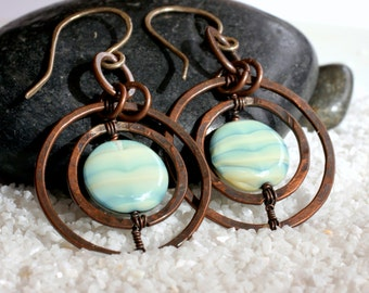 Copper Double-Saturn Ring Earrings with Marbled Green Bead