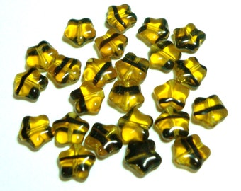 Tortoise Stripe Star 8mm, 24 Pieces Czech Glass, Item 644