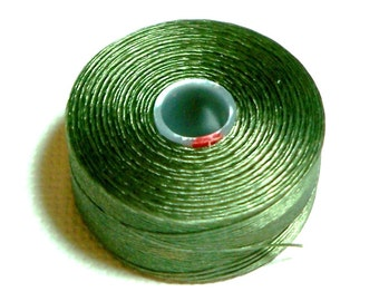 Olive C-Lon Beading Thread, Size D, 1 Bobbin of 78 Yards, Item 590