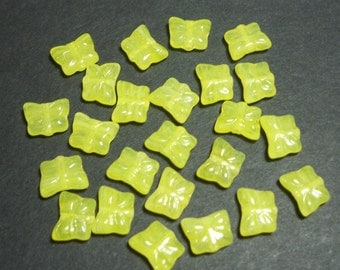 Yellow Swirl Butterflies 9x7mm, 24 Pieces Czech Glass, Item 100