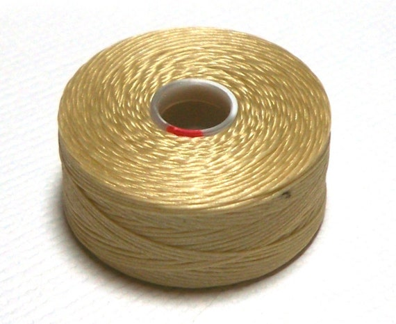 Beige C-Lon Beading Thread, Size D, 1 Bobbin of 78 Yards, Item 623