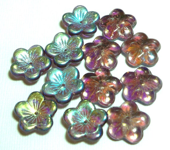 Amethyst AB Large Flat Flowers 16mm, 12 Pieces Czech Glass, Item 599