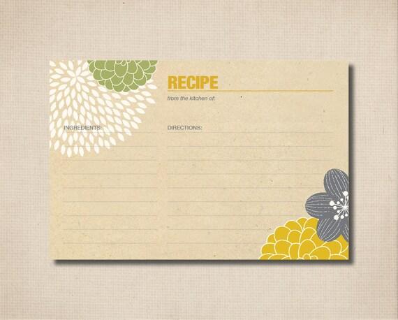 Bridal Shower Recipe Cards - Modern flower Design