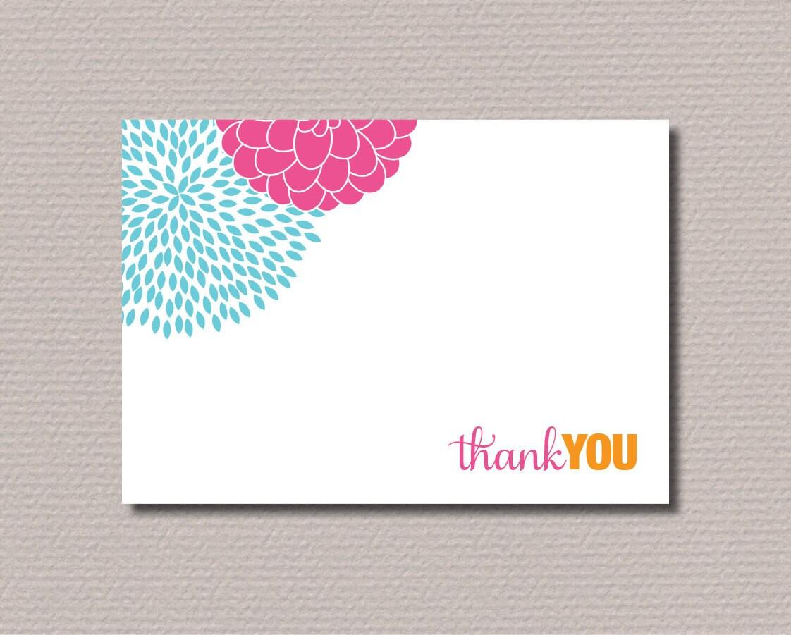 Printable Thank You Card Modern flower design by rosiedaydesign