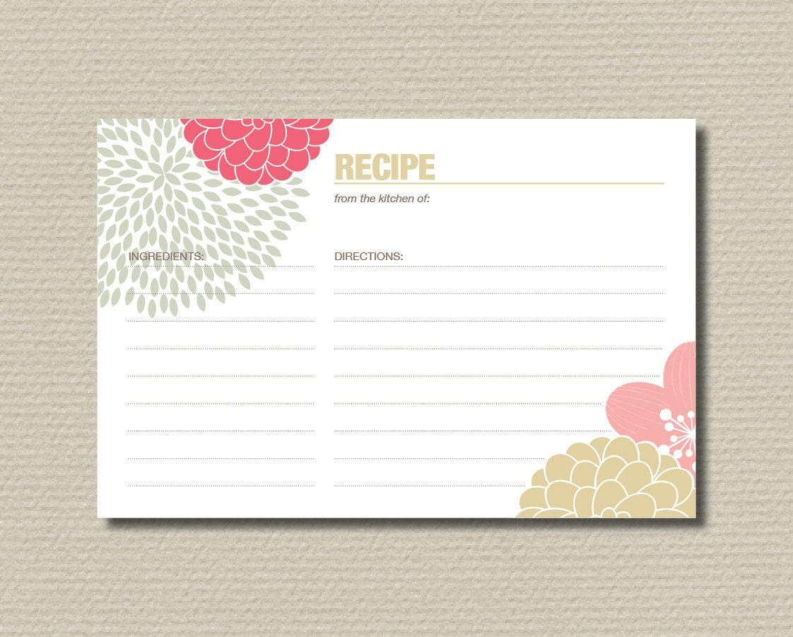 Bridal Shower Recipe Cards Modern Flower Design In Neutral