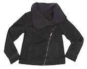 Sale Black womens jacket/ Jeans jacket / Black coat / Fall  jacket / Waist length jacket/ Zipper jacket/  black jacket