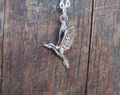 SALE under10 Hunger games Mockingjay Silver charm necklace