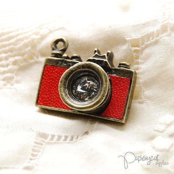 AA003 // Antique brass w crystal  camera charm