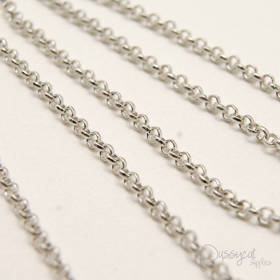 1 meter Matte Rhodium Plated Rollo Links Chain