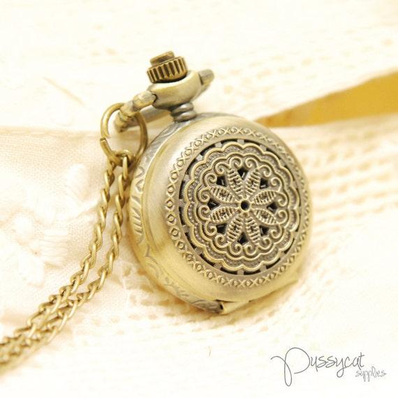 Antiqued Steampunk Filigree Flower Pocket Watch Locket Charm Pendant with Chain