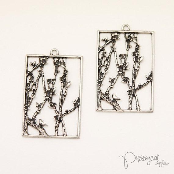 2pcs Antique Silver Plum Blossom & Bird Scene Charms