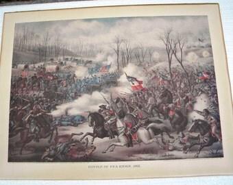 1889 KURZ ALLISON Battle of Pea Ridge Chromolithograph
