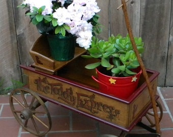 Vintage Famous J. P. Bartholomew's The Teddy Express Wagon Plant Stand Planter