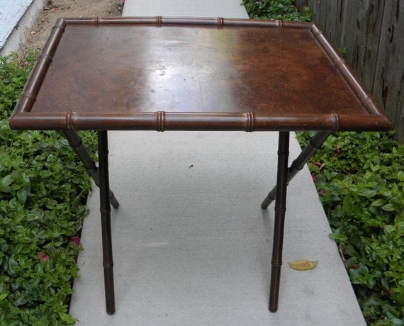 Rare 1940-1950s Hollywood Regency Faux Bamboo Table
