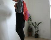 Hand crochet market bag, net bag, shopping bag, in red organic cotton, eco friendly bag