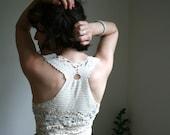 Hand crochet top in organic cotton, white cotton vest, lace top, unique vest, OOAK vest, freeform crocheting