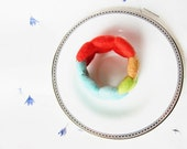 Handmade Beaded Felt Memory wire bracelet (light green, light orange, blue, mandarine red)