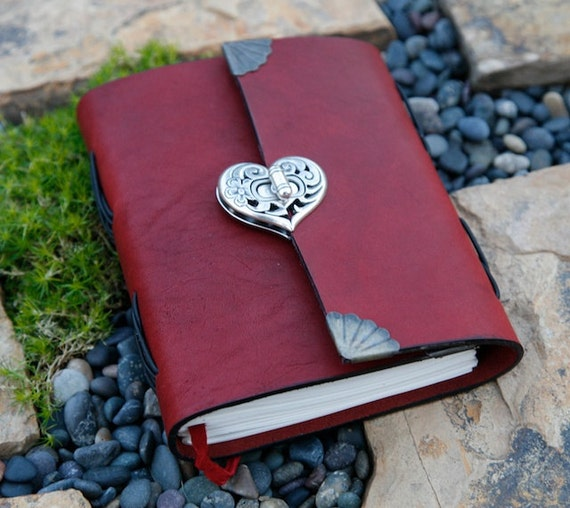 Leather Journal - Heart Clasp -  Burgundy Red - Notebook / Diary / Sketchbook 5x6 LIMITED TIME