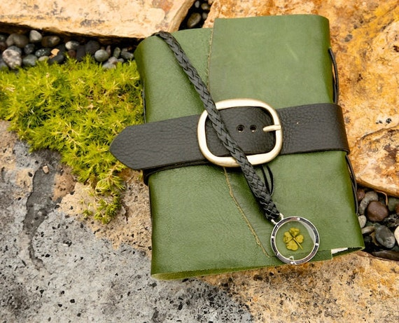Leather Journal - Lucky - St. Patrick's Day - Green - Blank / Notebook / Diary / Sketchbook