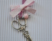 Silver plated scissors necklace