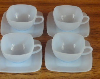 Fire King Charm  Azurite Blue  4 Cups and 4 Saucers