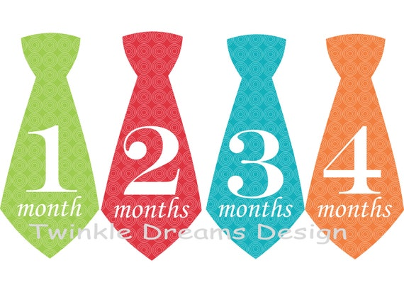 Baby Boy Monthly Milestone Stickers Tie Necktie - Blue red orange green newborn new baby