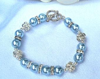 Women's Baby Blue Swarovski Pearl Bracelet
