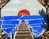 Stained Glass Mosaic Garden Stepping Stone with Sunset from Dock Beach