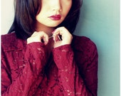 Red Wine Burgundy Maroon lace floral sheer collared shirt blouse top: Hanging Garden