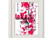 red black abstract art, 8''x10'', free shipping, ORIGINAL art, love