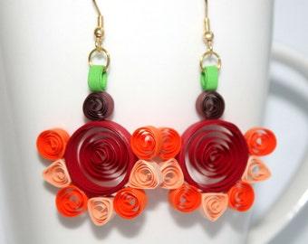 Red-Orange paper quilled Cheery flower earrings