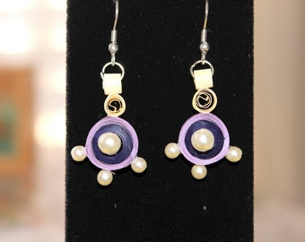 Purple paper quilled earrings