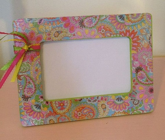 Mod Paisley Picture Frame Photo Pink Yellow Lime Green Custom Mother's Day Gift Embellished