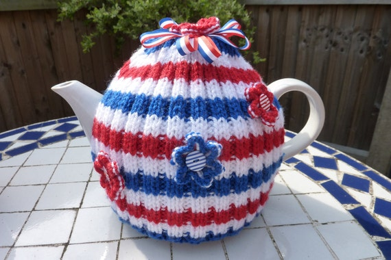 Hand Knitted Tea Cosy - Red, White and Blue