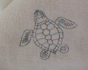 Toile Sea Turtle dish towel