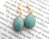 Gemstone earringsTurqouise magnesite gemstone gold earrings