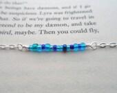 Bright blue seed bead silver bracelet