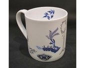 China mug 'Blue Willow flying bug'