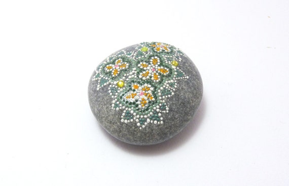 RESERVED FOR DAVE - EverGreen / Hand painted stone by circle and the dot